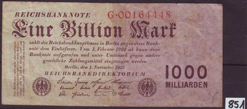 Foto Banknoten Deutschland: 1 Billion Mark 1.11.1923